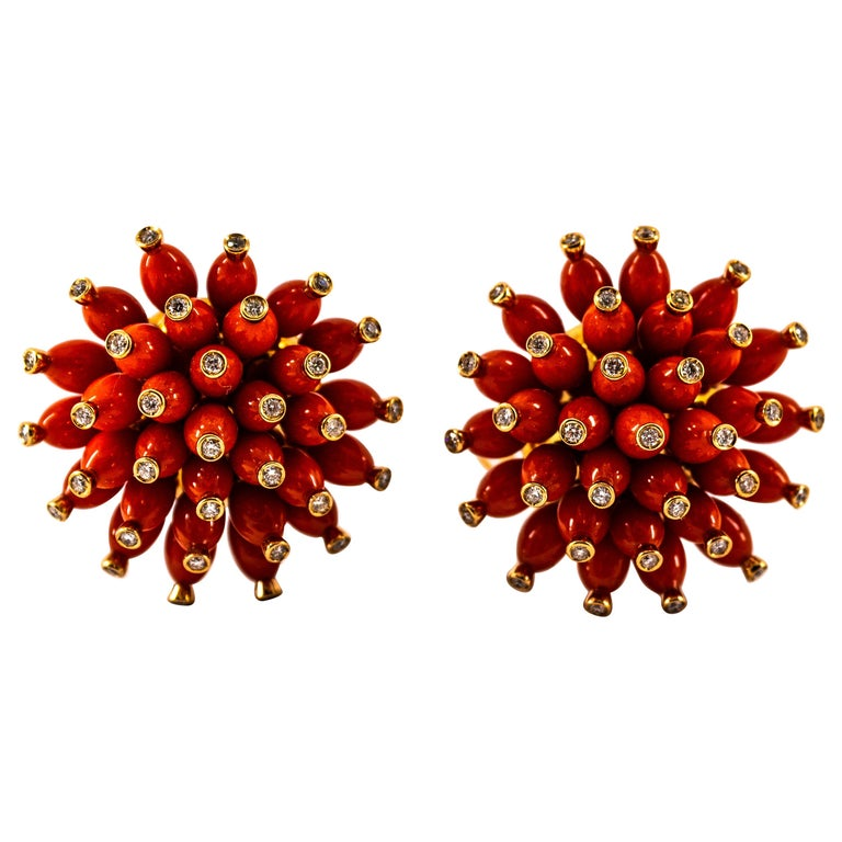 Handcrafted Mediterranean Red Coral White Diamond Yellow Gold Dangle Earrings For Sale