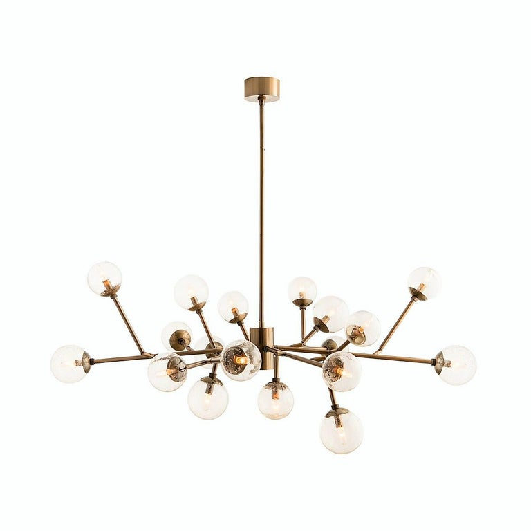 Handcrafted Mid-Century Modern Branching Chandelier in Vintage Brass In New Condition For Sale In New York, NY