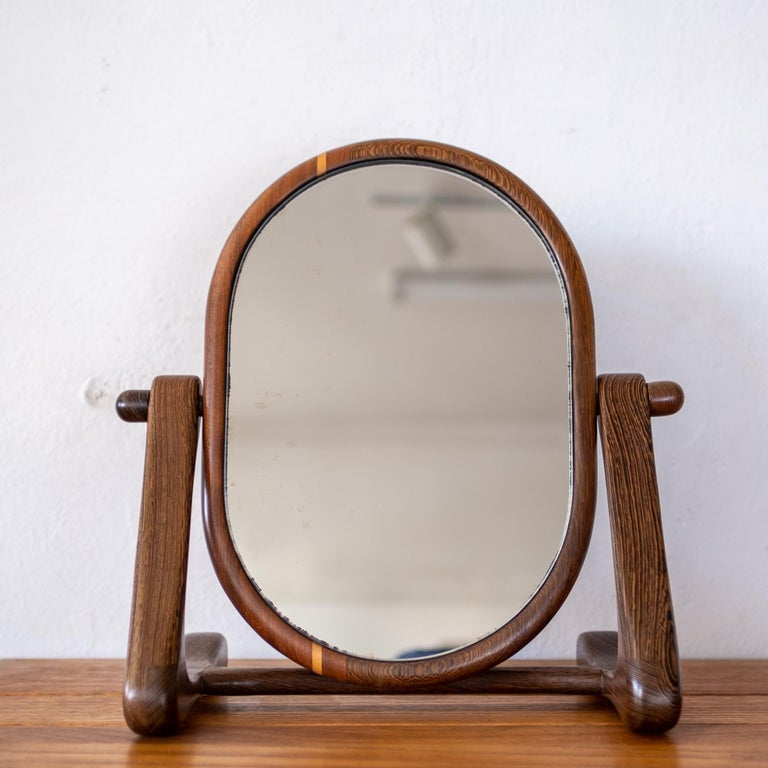 Handcrafted Mixed Wood Table Top Mirror, 1960s For Sale 5