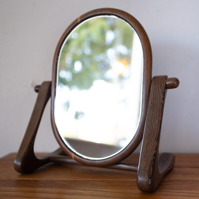 Handcrafted Mixed Wood Table Top Mirror, 1960s For Sale 7