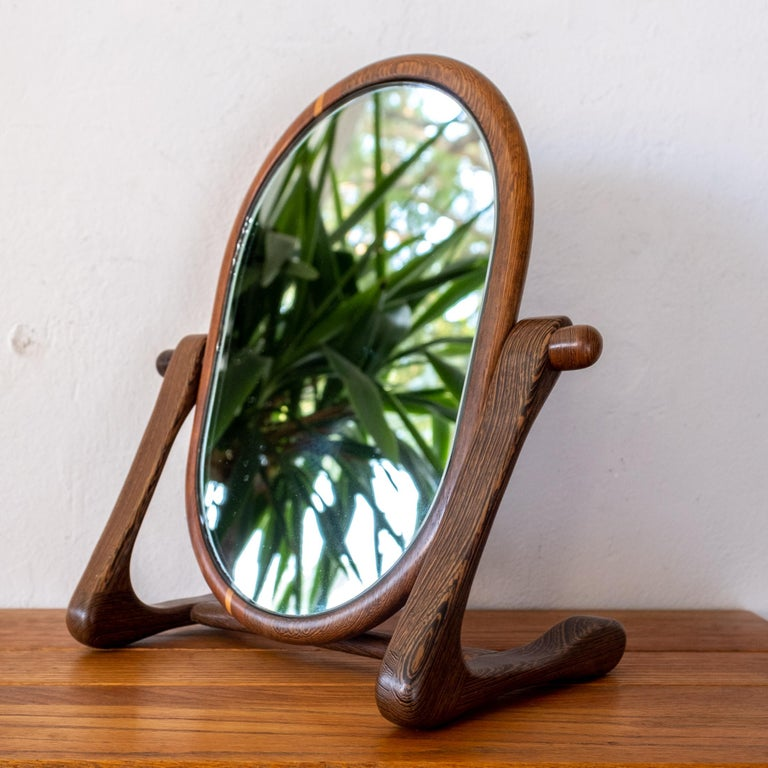 Mid-20th Century Handcrafted Mixed Wood Table Top Mirror, 1960s For Sale