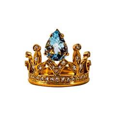 Handcrafted Modern 1.75 Carat White Diamond Aquamarine Rose Gold Engagement Ring