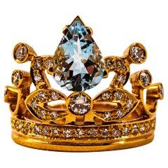 Handcrafted Modern 1.85 Carat White Diamond Aquamarine Rose Gold Engagement Ring