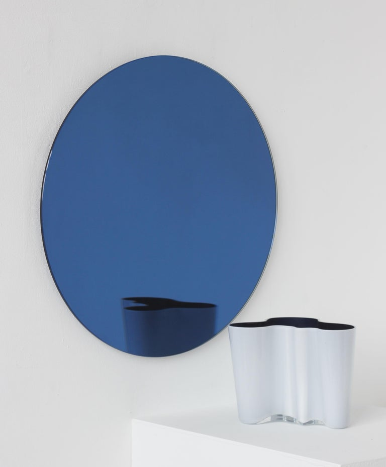 Handcrafted Modern Blue Tinted Orbis™ Wall Mirror Circular Shaped Frameless In New Condition For Sale In London, GB