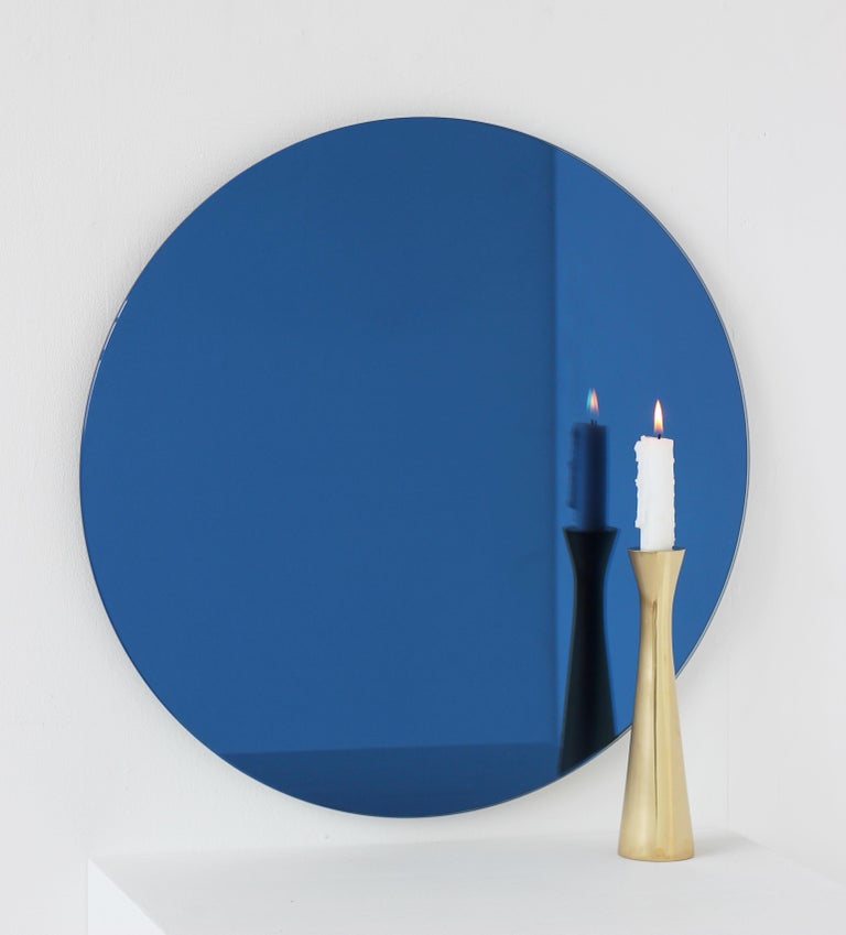 Handcrafted Modern Blue Tinted Orbis™ Wall Mirror Circular Shaped Frameless For Sale 2