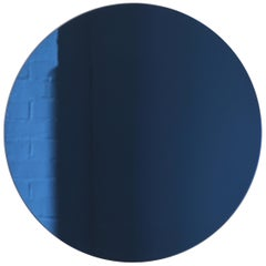 Handcrafted Modern Blue Tinted Orbis™ Wall Mirror Circular Shaped Frameless