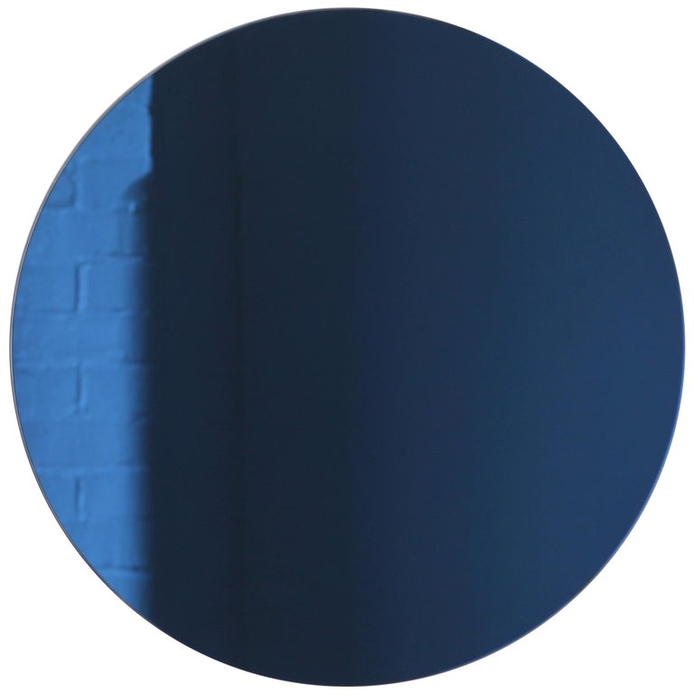 Handcrafted Modern Blue Tinted Orbis™ Wall Mirror Circular Shaped Frameless For Sale