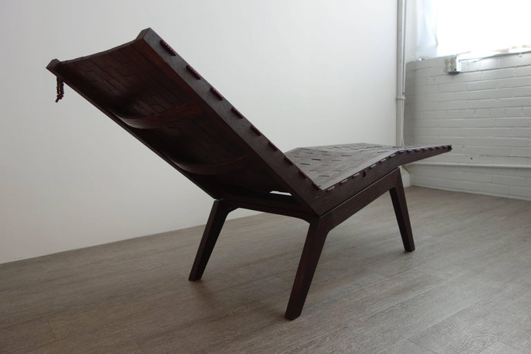 American Handcrafted Modern Wenge RB Chaise Longue For Sale