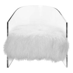 Handcrafted Mongolian Fur Lucite Chair, Ivory