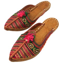 Handcrafted Moorish Leather Ethnic Turkish Gold Embroidered Shoes
