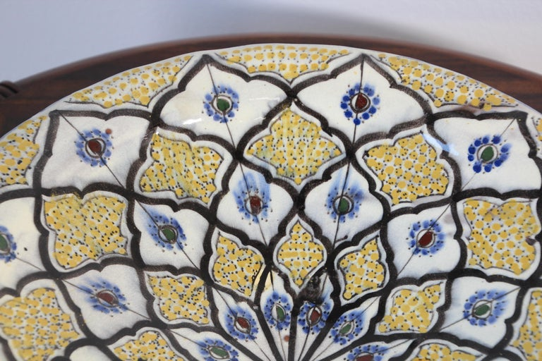 Handcrafted Moroccan Ceramic Yellow Bowl Vintage Large Charger  5