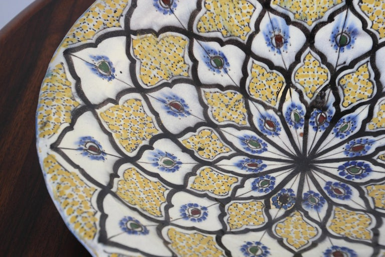 Handcrafted Moroccan Ceramic Yellow Bowl Vintage Large Charger  6