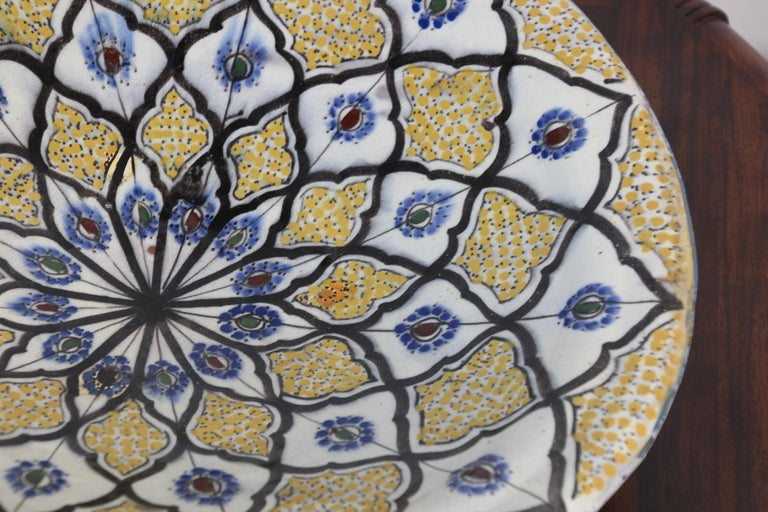 Handcrafted Moroccan Ceramic Yellow Bowl Vintage Large Charger  7