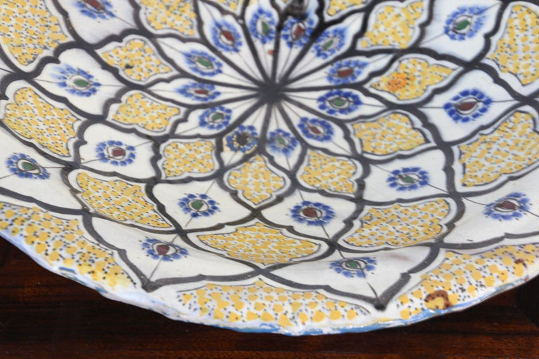 Handcrafted Moroccan Ceramic Yellow Bowl Vintage Large Charger  8