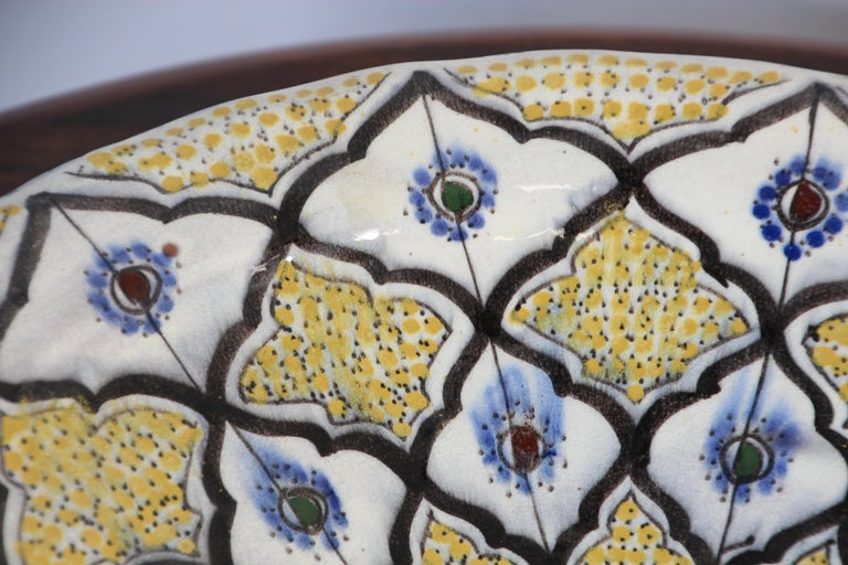 Handcrafted Moroccan Ceramic Yellow Bowl Vintage Large Charger  9