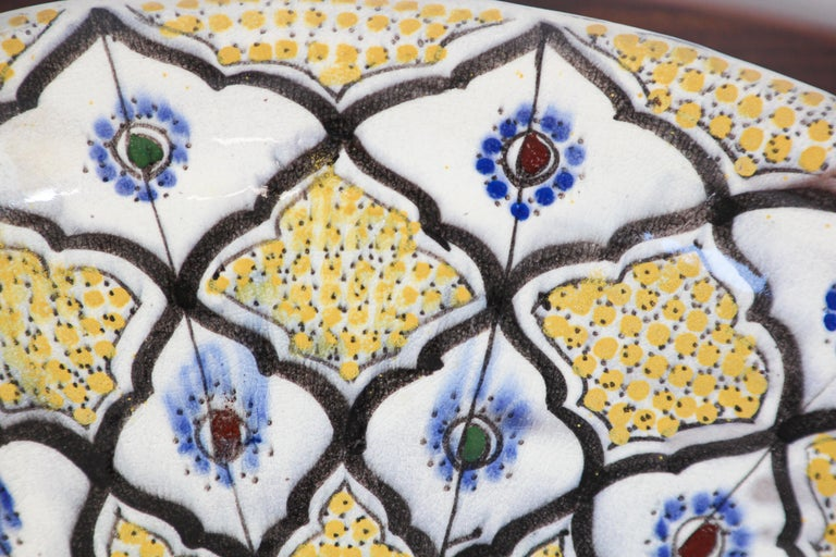 Handcrafted Moroccan Ceramic Yellow Bowl Vintage Large Charger  10