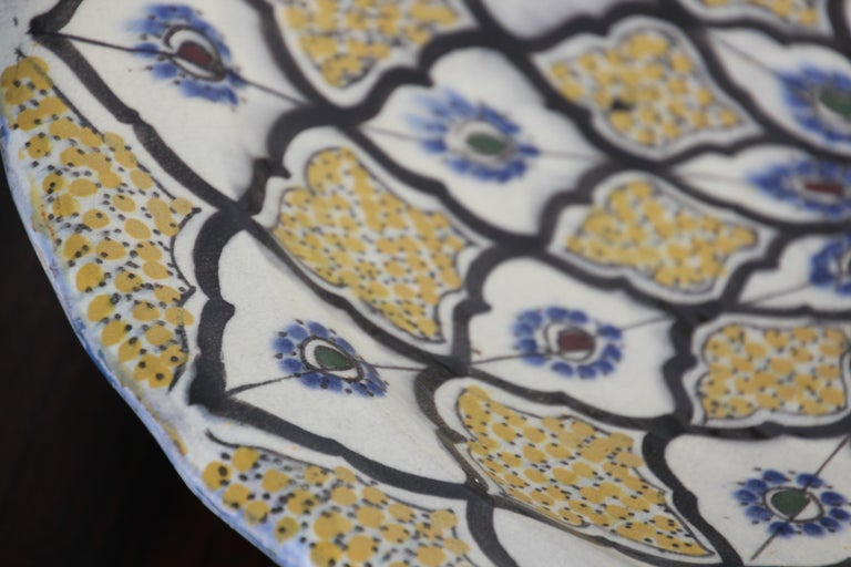 Handcrafted Moroccan Ceramic Yellow Bowl Vintage Large Charger  12