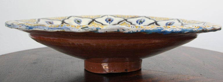 Handcrafted Moroccan Ceramic Yellow Bowl Vintage Large Charger  13