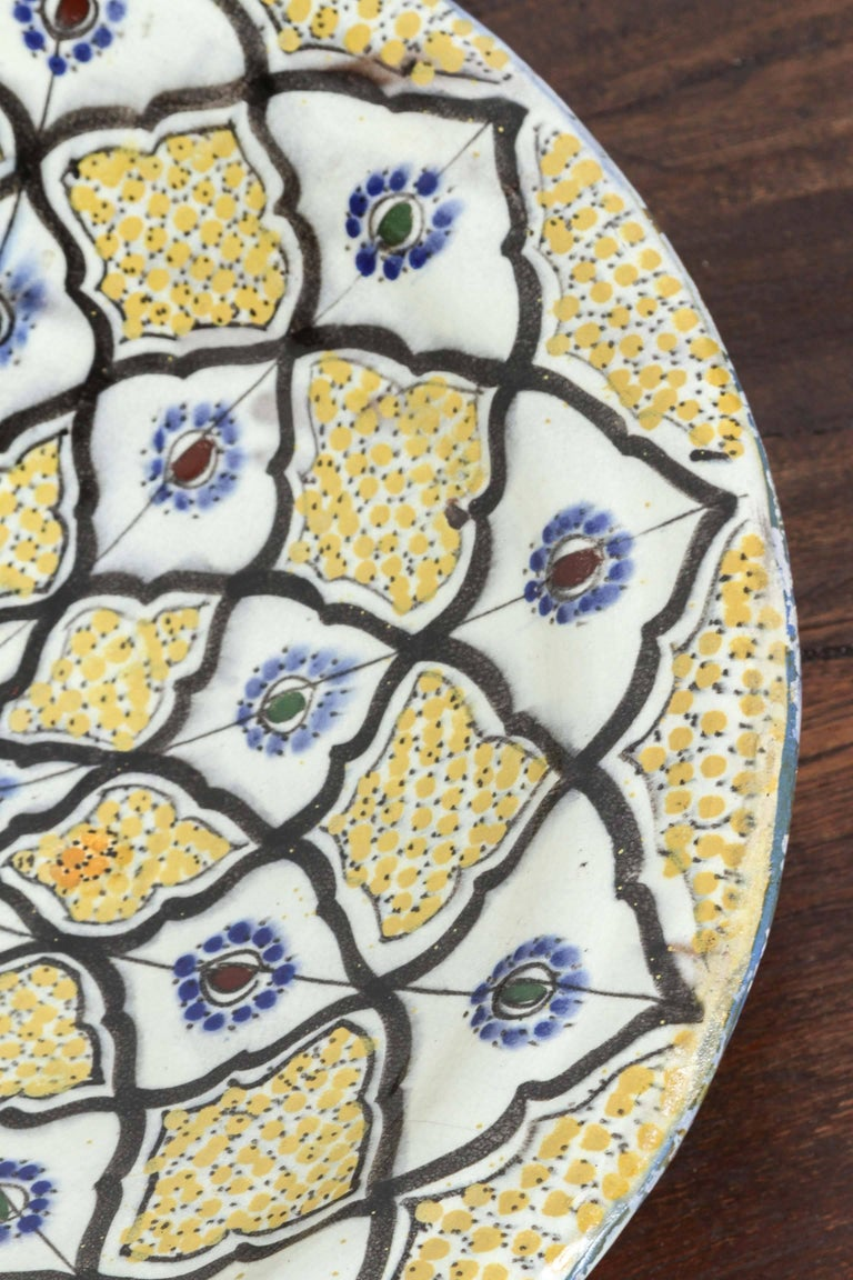 Moorish Handcrafted Moroccan Ceramic Yellow Bowl Vintage Large Charger