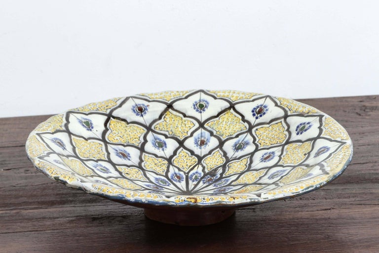 Hand-Crafted Handcrafted Moroccan Ceramic Yellow Bowl Vintage Large Charger