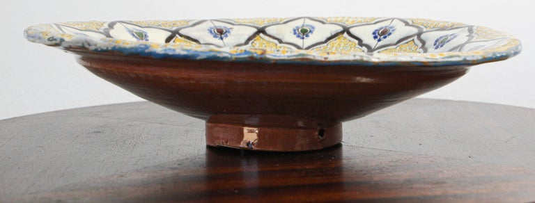 20th Century Handcrafted Moroccan Ceramic Yellow Bowl Vintage Large Charger
