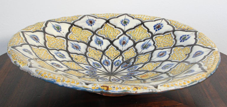 Handcrafted Moroccan Ceramic Yellow Bowl Vintage Large Charger  1