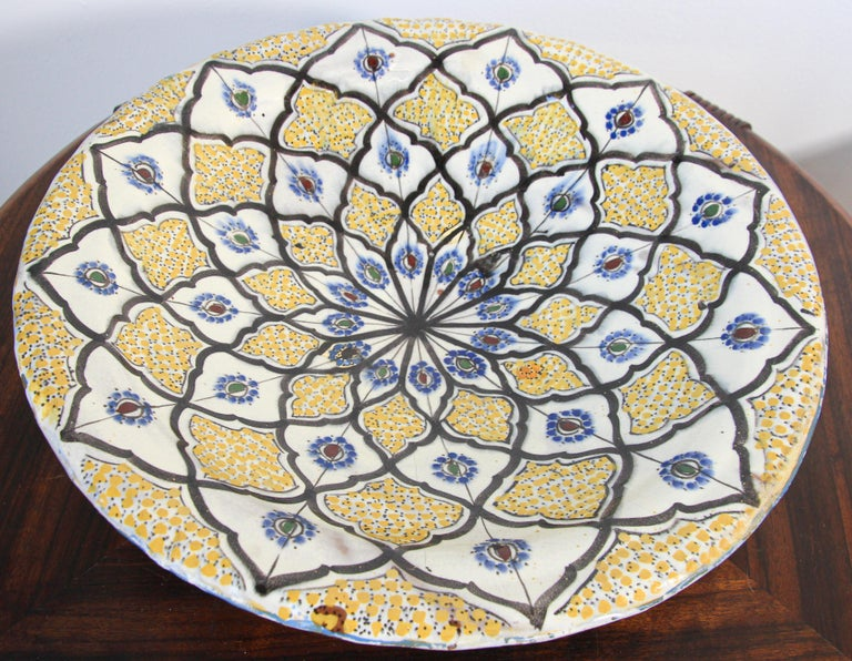Handcrafted Moroccan Ceramic Yellow Bowl Vintage Large Charger  2