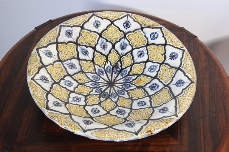 Handcrafted Moroccan Ceramic Yellow Bowl Vintage Large Charger  3