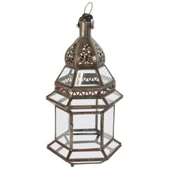 Handcrafted Moroccan Clear Glass Candle Lantern