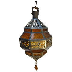 Handcrafted Moroccan Metal and Amber Glass Lantern, Octagonal Diamond Shape