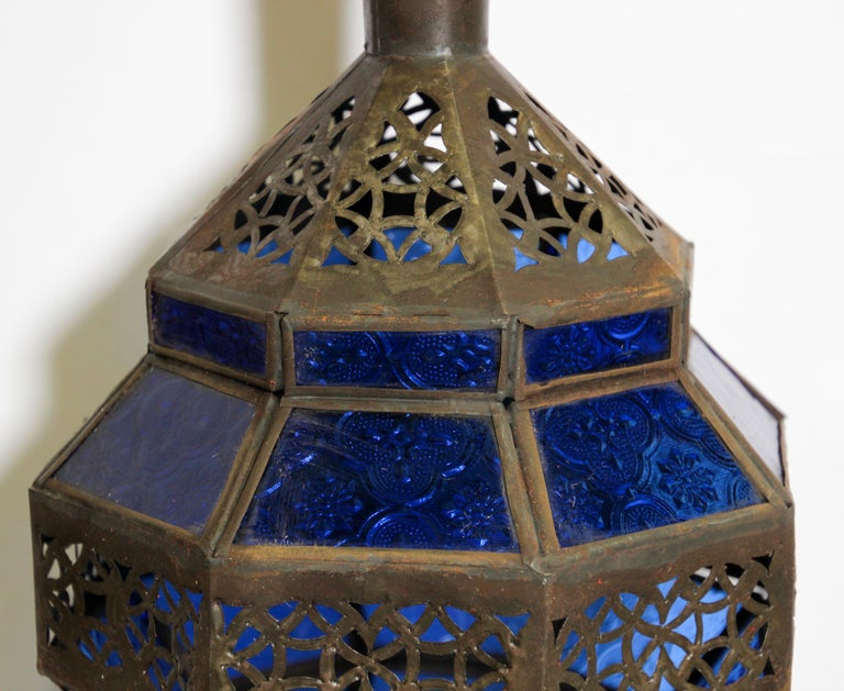 Handcrafted Moroccan Blue Glass Lantern, Metal Octagonal Diamond Shape For Sale 5