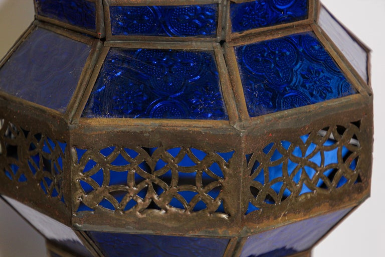 Handcrafted Moroccan Blue Glass Lantern, Metal Octagonal Diamond Shape For Sale 7