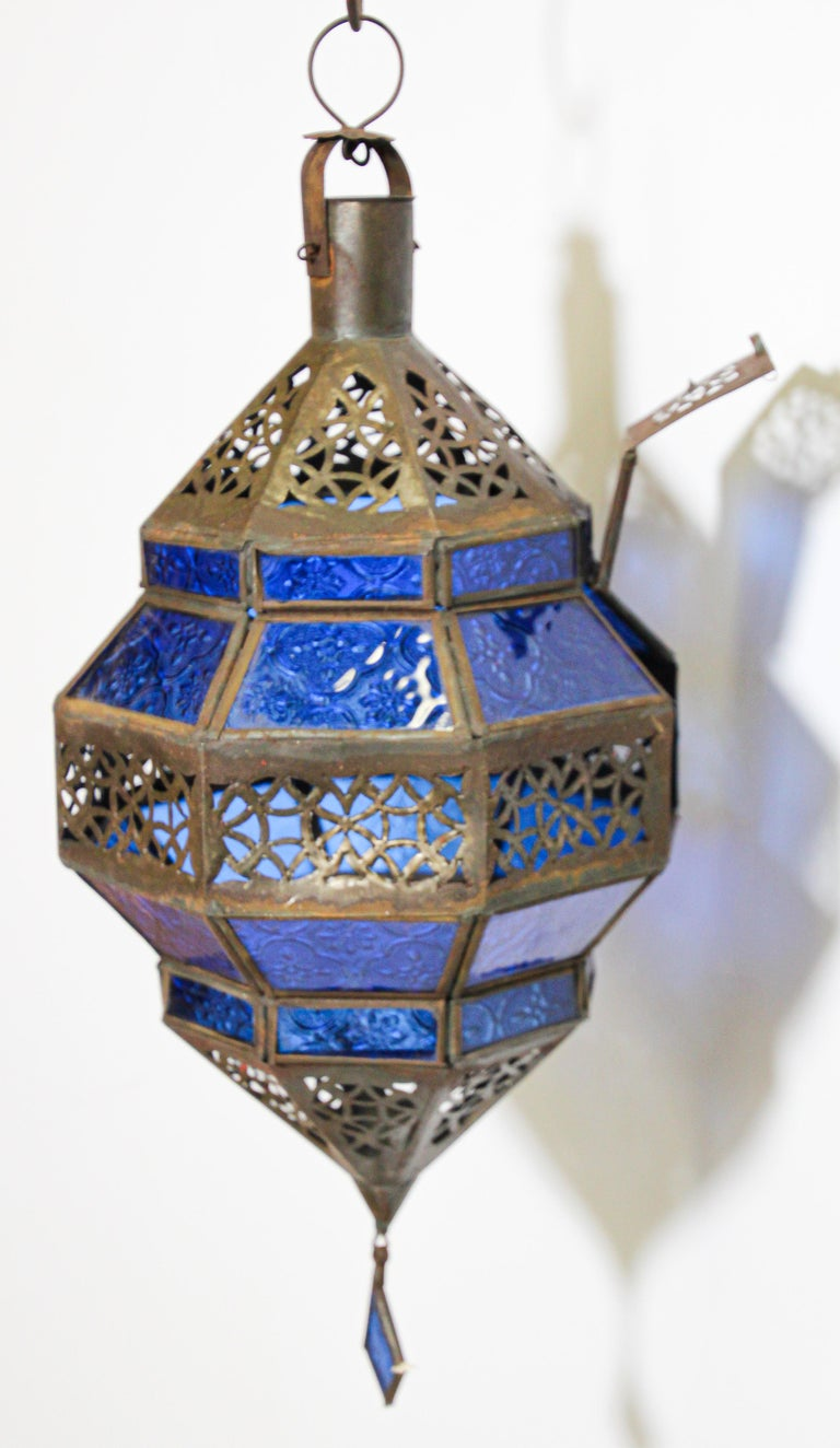 Handcrafted Moroccan Blue Glass Lantern, Metal Octagonal Diamond Shape For Sale 8