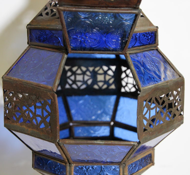 Handcrafted Moroccan Blue Glass Lantern, Metal Octagonal Diamond Shape For Sale 9