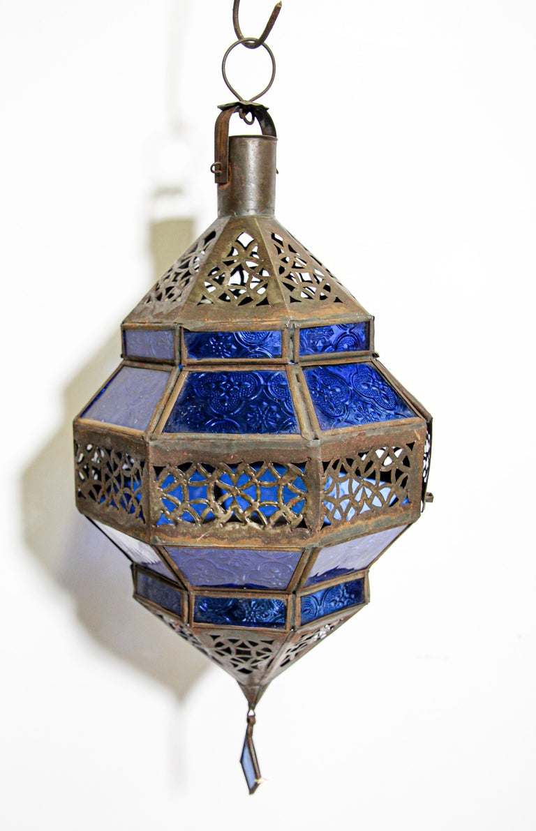 Handcrafted Moroccan Blue Glass Lantern, Metal Octagonal Diamond Shape For Sale 6