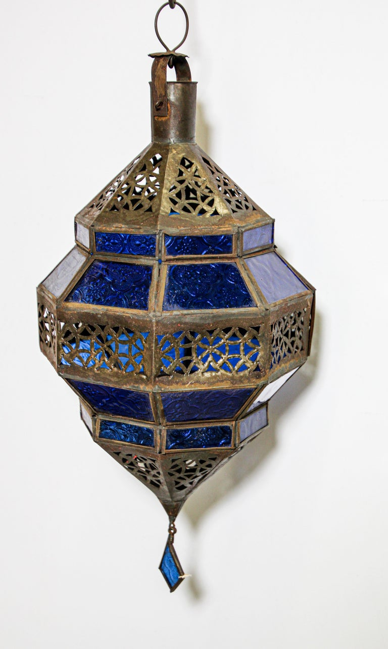 Hand-Crafted Handcrafted Moroccan Blue Glass Lantern, Metal Octagonal Diamond Shape For Sale