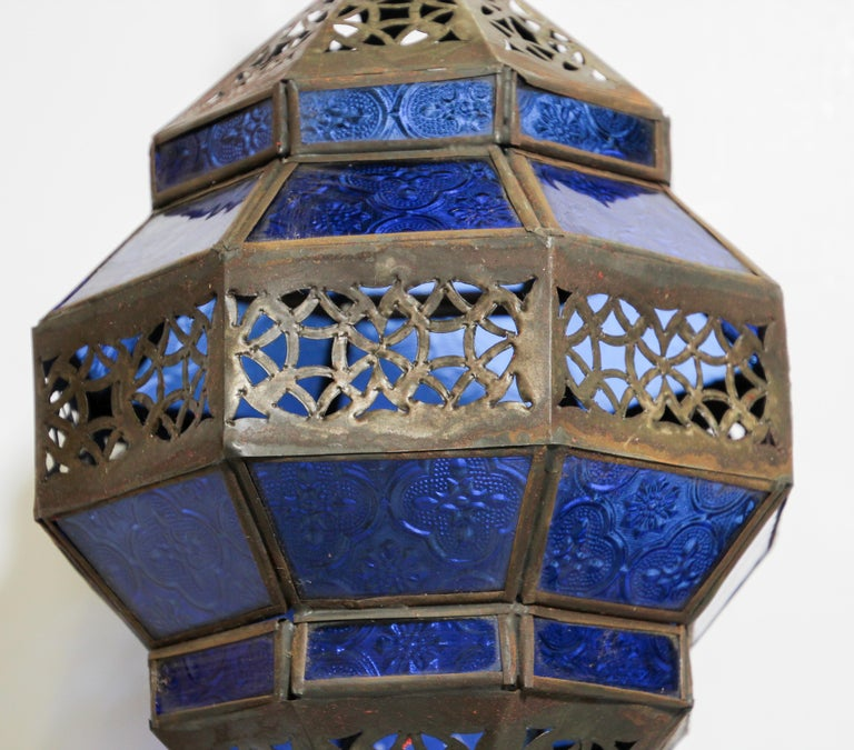 Handcrafted Moroccan Blue Glass Lantern, Metal Octagonal Diamond Shape In Good Condition For Sale In North Hollywood, CA