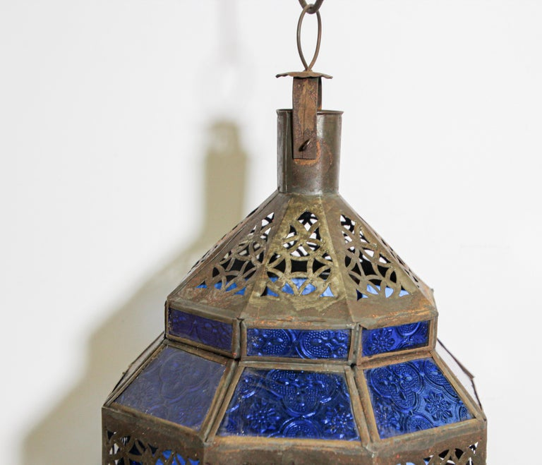 20th Century Handcrafted Moroccan Blue Glass Lantern, Metal Octagonal Diamond Shape For Sale