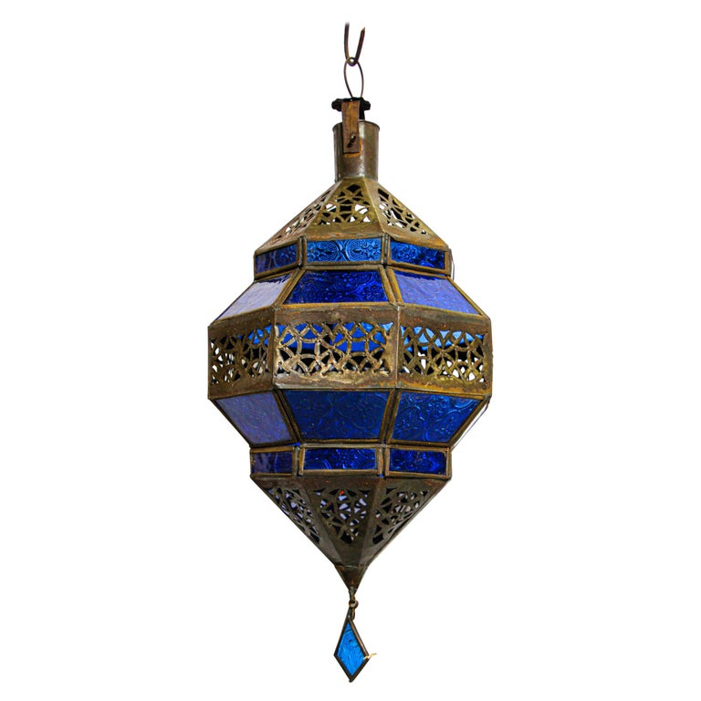 Handcrafted Moroccan Blue Glass Lantern, Metal Octagonal Diamond Shape For Sale
