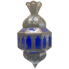 Handcrafted Moroccan Metal and Blue Glass Lantern, Octagonal Shape