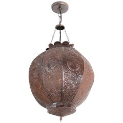 Handcrafted Moroccan Metal Orb Pendant, North Africa