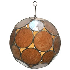 Handcrafted Moroccan Moorish Amber Glass Lantern or Orb Pendant