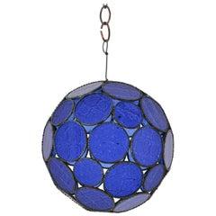Handcrafted Moroccan Moorish Glass Orb Lantern with Blue Glass