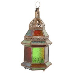 Handcrafted Moroccan Multi-Color Glass Lantern