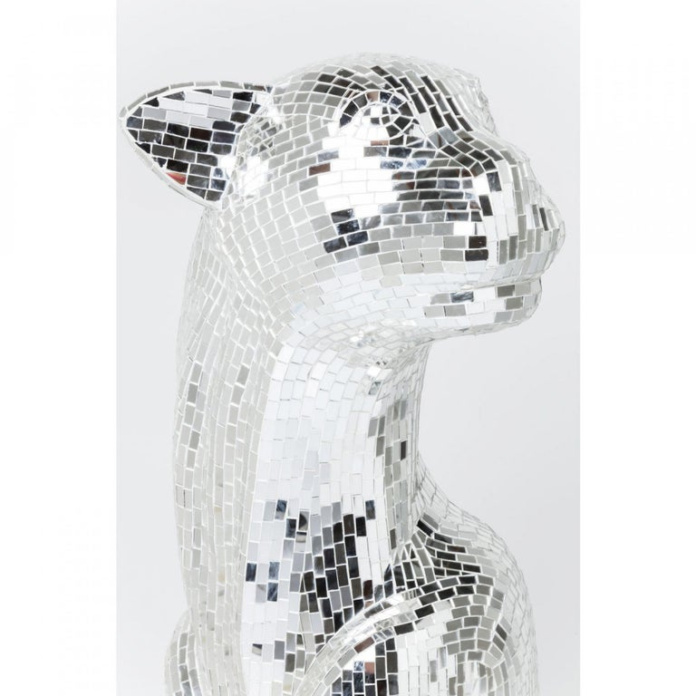 Contemporary Handmade Mirrored Glass Mosaic Panther Sculpture  In New Condition For Sale In New York, NY