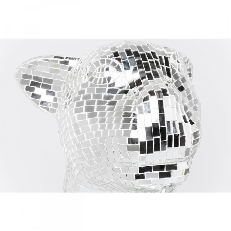 Art Glass Contemporary Handmade Mirrored Glass Mosaic Panther Sculpture  For Sale