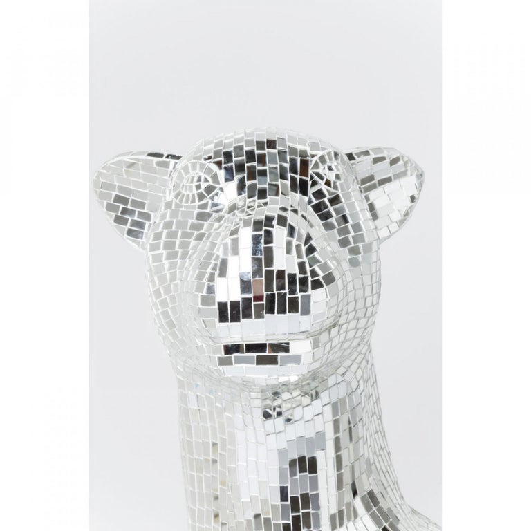 Contemporary Handmade Mirrored Glass Mosaic Panther Sculpture  For Sale 1
