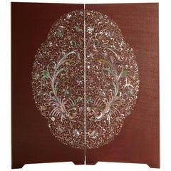 Handcrafted Mother of Pearl Phoenix Oriental Folding Screen by Arijian