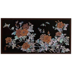 Handcrafted Mother of Pearl Rose Painting on Wood Panel by Arijian
