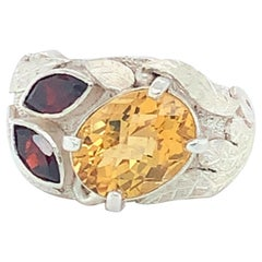 Handcrafted Natural Citrine & Garnet One of a Kind Sterling Silver Cocktail Ring
